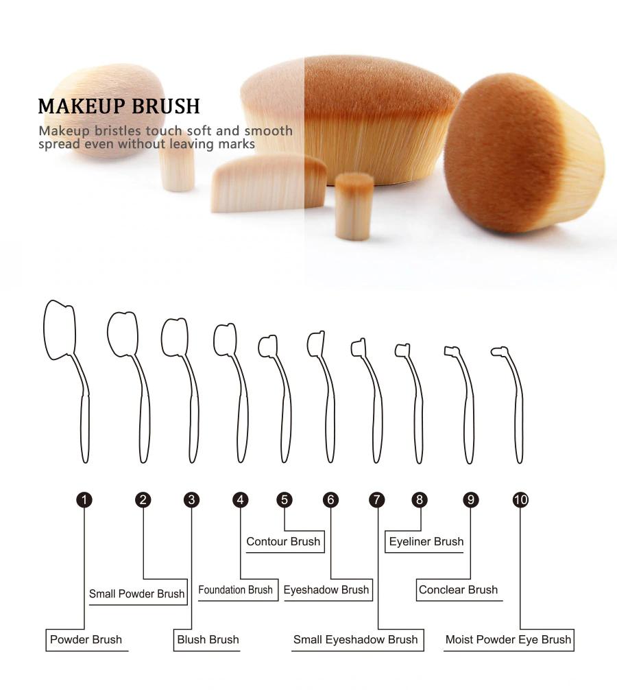 10 Piece Black Oval Brush Set
