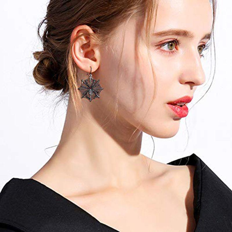 Black Spider Web Earrings